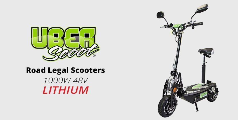 UberScoot 1000W 48V Lithium Electric Road Legal Scooter