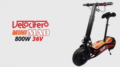 Velocifero Mini Mad 800W 36V Lithium Electric Scooter – Red/Black