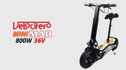 Velocifero Mini Mad 800W 36V Lithium Electric Scooter – White/Black