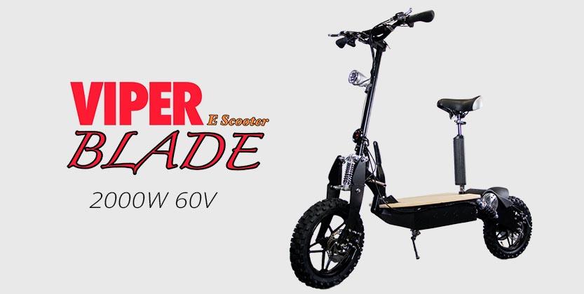 viper blade 2000w 60v electric scooter black viper scooter. Black Bedroom Furniture Sets. Home Design Ideas
