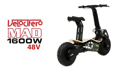 Velocifero Mad 1600W 48V Lithium Electric Scooter (ARMY)